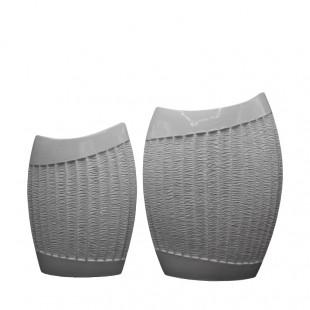 Vaso Stilizzato Ovale Bianco