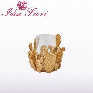 Portacandela Cactus Oro...