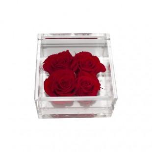 Mattonella di 4 Rose Rosse...